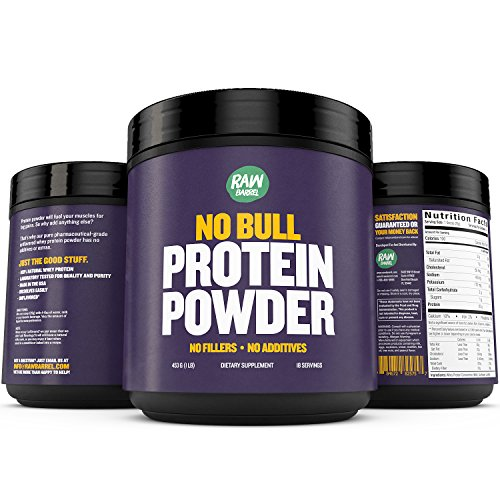 Raw Barrel's - Pure Natural Whey Protein Powder - Unflavored - SEE RESULTS OR YOUR MONEY BACK - 1lb - Instantized Concentrate Supplement - High Protein, Low Carb - With Free Digital Guide And Recipes