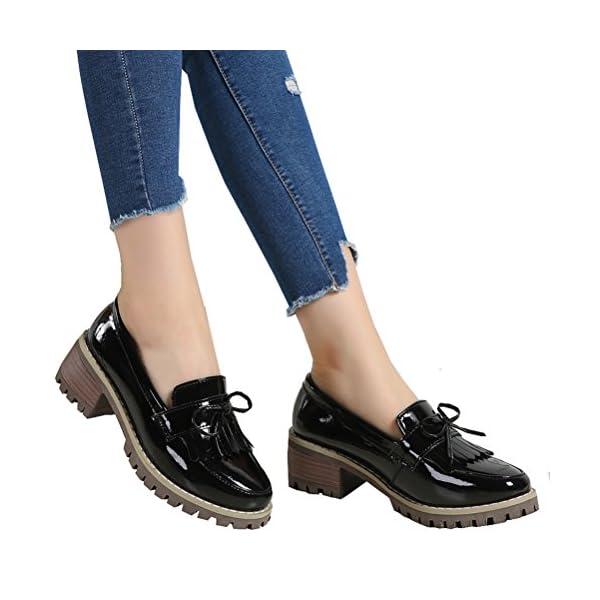 DADAWEN Women's Classic Tassel Slip-On Platform Mid-Heel Square Toe Oxfords Dress Shoes