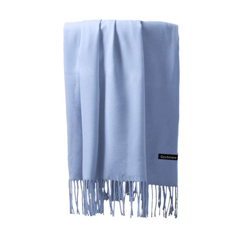 Vertily Classic Unisex Casual Long Scarf Scarves Tassels Shawl Voile Rectangle (Sky Blue)