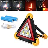 Autofather 30W LED Rechargeable Triangle Work Light 4 Modes Portable Floodlight IP67 Waterproof for Car Home Emergency Security Warning Lamp for Outdoor Camping Garden Garage