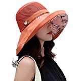 Women Mesh Sun Hats Summer Beach UV Protection UPF Packable Wide Brim Chin Strap (Orange-Red)