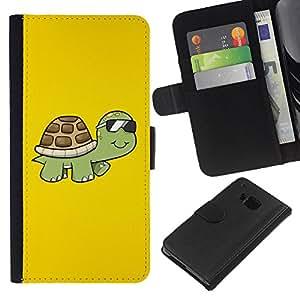 KLONGSHOP // Tirón de la caja Cartera de cuero con ranuras para tarjetas - Tortuga fresca amarillas verano vidrios de Sun Arte - HTC One M7 //