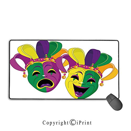 Extended gaming mouse pad with stitched edges,Mardi Gras,Traditional Masks of Tragedy and Comedy Festival Celebration Masquerade Theme Decorative,Multicolor, Suitable for offices and homes,15.8