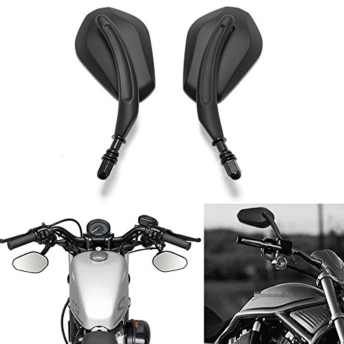 Custom Black Motorcycle Oval Rearview Side Mirrors for Cruisers Harley Davidsons-Pair Harley Oval Mirror