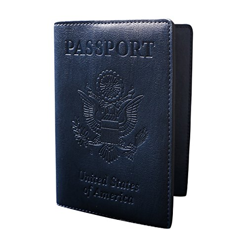 Exox Navy Blue Genuine Leather Us Passport Cover For Men And Womens