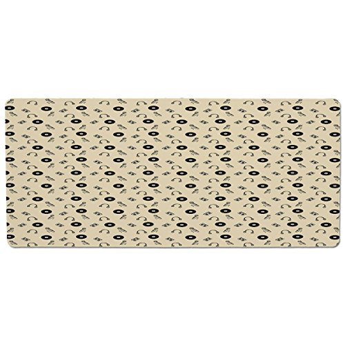 (Pet Mat for Food and Water,Music,Retro Records Headphones Microphones Casette Tapes Melody in Sixties Graphic Art Decorative,Cream Black,Rectangle Non-Slip Rubber Mat for Dogs and Cats)