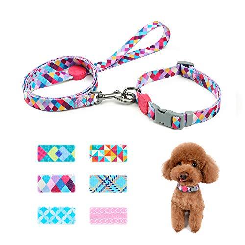 keezeg Dog Collar and Leash Set, Geometry Themed Pattern Dog Collar for Small Medium Large Dogs and Cats, Modern Pattern Dog Collar for Boys and Girls, Diamond Purple (XS)