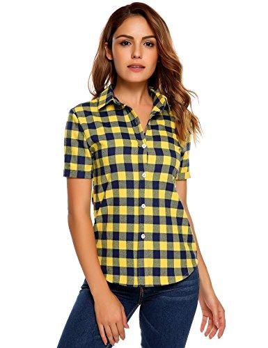 SUNAELIA Womens Short Sleeve Boyfriend Button Down Plaid Flannel Shirt Cotton Casual Blouse Check Gingham Top S-XXL Yellow