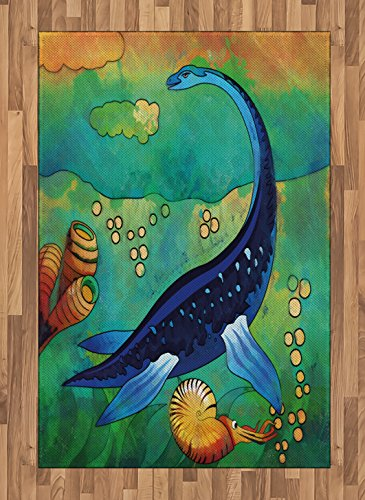 (Ambesonne Dinosaur Area Rug, Ancient Wild Sea Creature Plesiosaurus in Its Underwater Habitat, Flat Woven Accent Rug for Living Room Bedroom Dining Room, 4 X 5.7 FT, Jade Green Navy Blue Orange )