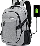 Hopesport Laptop Computer Backpack External USB Charge Port with Built-in USB Charging Cable School Travel Backpacks (grey)