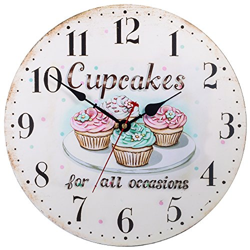 Silent Non-Ticking Decorative Wooden Wall Clock by SkyNature (12 in, Cupcakes)
