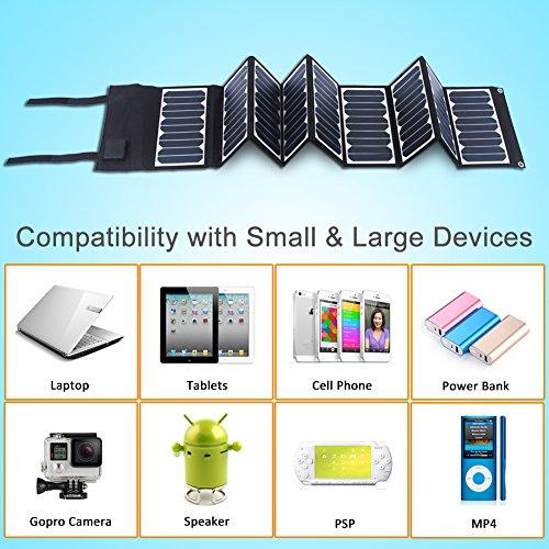 KINGSOLAR™ Highest Efficient 60W Foldable Solar Panel Portable Solar Charger Dual Output (USB Port + DC Output) by KINGSOLAR™ (Image #2)