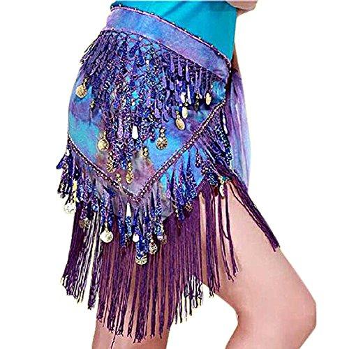 [Zebra 1Pc Belly Dance Costume Hip Scarf Tribal Triangle Tassel Belt&Gold Coins Purplish Blue] (Scarf Coin Belly Dance Costumes)