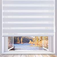 """LUCKUP Horizontal Window Shade Blind Zebra Dual Roller Blinds Day and Night Blinds Curtains,Easy to Install 23.6"""" x 90"""", White"""
