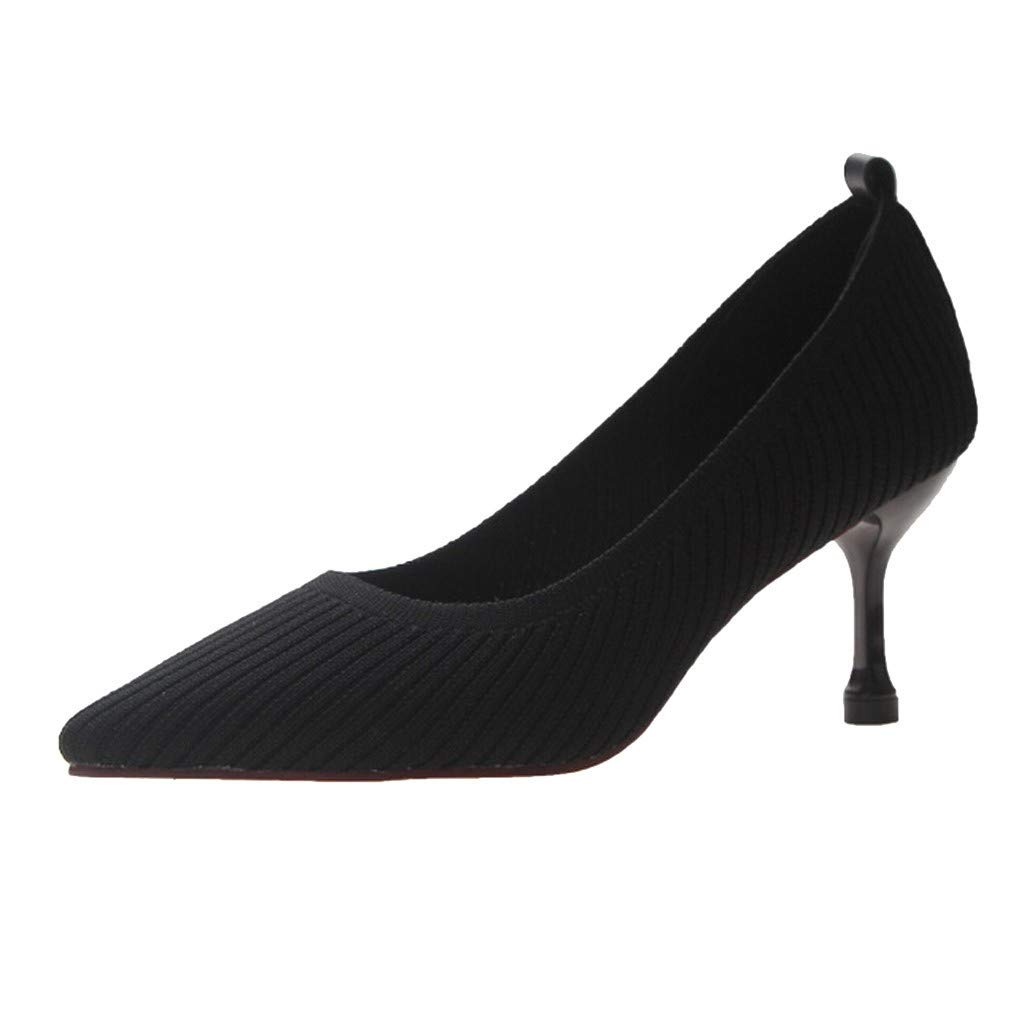 ZOMUSAR New! 2019 Women's Summer Casual Fashion Pointed Stretch Breathable Single Shoes High Heels Black