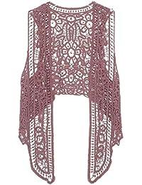QD-CACA Women Summer Bohemian Style Lace Crochet Sleeveless Cardigan Vest