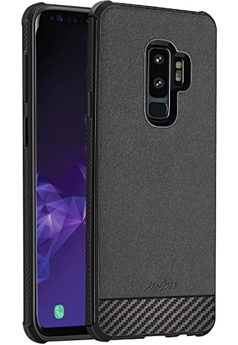 Samsung Galaxy S9 Plus Case, ProCase Slim Hybrid Shockproof Protective Case Anti-Scratch Cushion Bumper with Reinforced Corner, Anti-Fingerprint Back Cover for 6.2 Inch Galaxy S9 Plus 2018 -Black