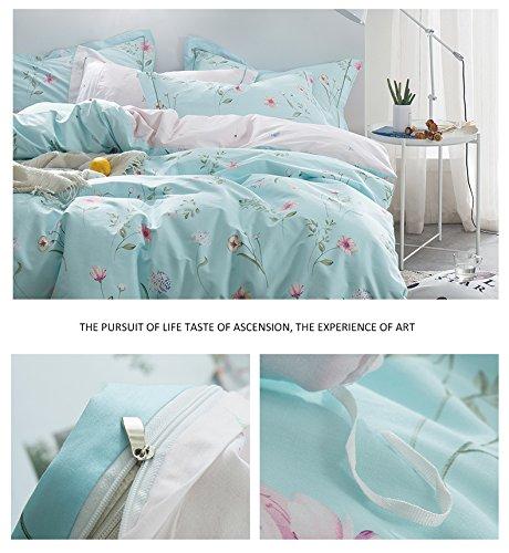 OTOB Floral Bedding Duvet Cover Queen Set for Teen Kids Girl Flower Print Bedding Sets Full Size Cotton 100 Blue, Reversible Lightweight Soft by OTOB (Image #7)