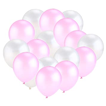 Tinksky Lustre nacarado 50pcs globos látex globos para decoración fiesta boda cumpleaños Navidad (blanco, rosa)