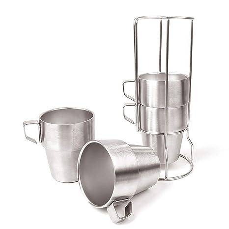 Acero inoxidable taza acero inoxidable 300 ml (4 unidades ...