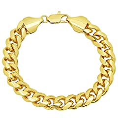 Defined by substantial masculine links, this chunky 11mm Miami Cuban chain bracelet wraps the wrist in polished faceted curb links that gleam from a lustrous 14k yellow gold plating. Secured by a lobster claw clasp, it's offered in various le...