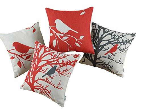 CaliTime Set of 4 Canvas Throw Pillow Covers Cases for Couch Sofa Home, Vintage Birds Tree Branches Silhouette, 18 X 18 Inches, Black - Red Black Cream