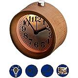 legno sveglia, Calar piccola rotonda fatta a mano da tavolo in stile Orologio Snooze silenzioso faggio legno Digital Bedside Alarm Clock con luce notturna per ufficio Casa Camera