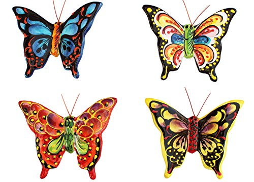 Tropical Butterflies - Set of 4 Small Ceramic Wall Hangers - Hand Painted From (Butterfly Patio Set)
