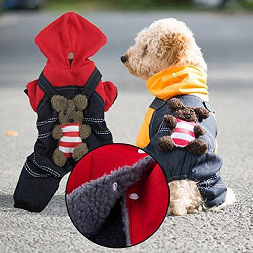 [LPET Pet Clothes Dog Winter Warm Hooded Coat Sweater Puppy Costume for Teddy Pomeranian Poodle Chihuahua Corgi Dogs (L,] (Pomeranian Costume)