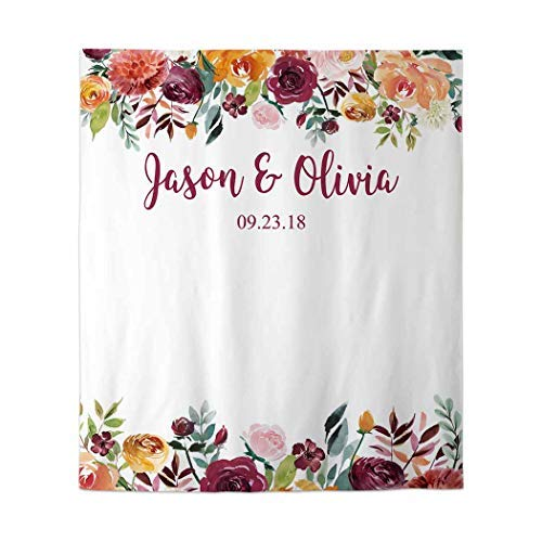 Allenjoy 90x110in Customizable Printable Floral Wedding Backdrop Engagement Bridal Shower Photography Backdrop Peach Plum Wedding Sign Banner Party Decor Decoration Photobooth Custom Tapestry]()