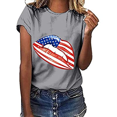 RAINED-Women 4th July Tops Print Independence Day Tops Casual Short Sleeve T-Shirt American Flag Tee Patriotic Shirt