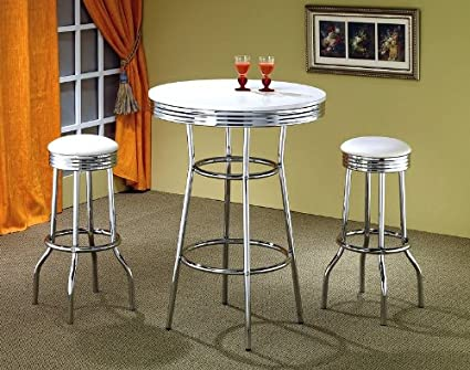 Delicieux 50039;s Soda Fountain In Retro Chrome 3 Piece Counter Height Bar Table Set  With