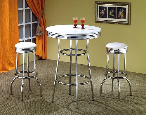 50039;s Soda Fountain in Retro Chrome 3 Piece Counter Height Bar Table Set with White Stool Top -