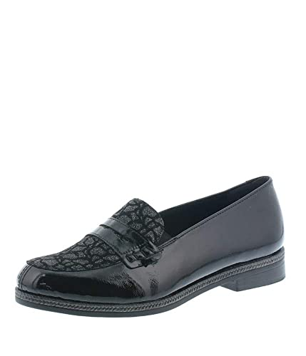 a326e239 Remonte Black Patent and Leopard Slip on Shoes: Amazon.co.uk: Shoes ...