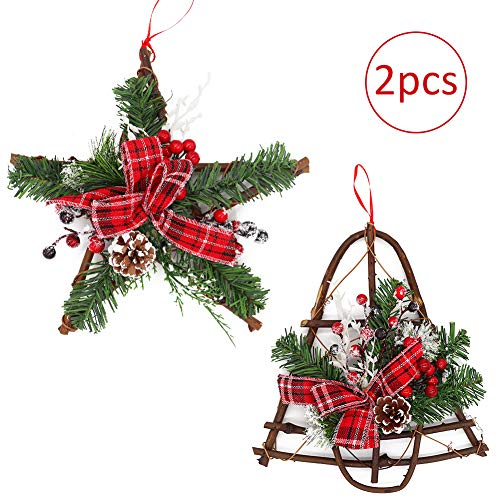 2 Pieces Christmas Grapevine Wreath with Snow 12inch, Natural Pine Cone with Red Berries Bow Glitter Branch Ornaments Xmas Garland for Home Party Decoration Holiday Winter Gift (Xmas Decorations Natural)