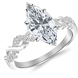0.38 Cttw 14K White Gold Marquise Cut Twisting Infinity Gold and Diamond Split Shank Pave Set Diamond Engagement Ring with a 0.25 Carat H I Color SI2 I1 Clarity Center