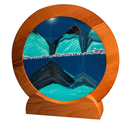 Exotic Sands Rd21 - SAND PICTURES MANUFACTURER DIRECT - HANDMADE QUALITY - Circle Cherry Frame (Deep Ocean Blue) Moving Sand Pictures for all ages. (Handmade Sand)