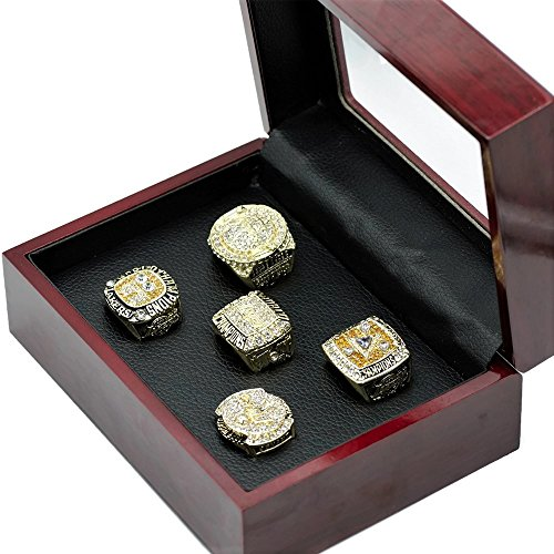 5 PC LAKERS CHAMPIONSHIP RING REPLICA SET WITH COLLECTORS BOX SIZE 11