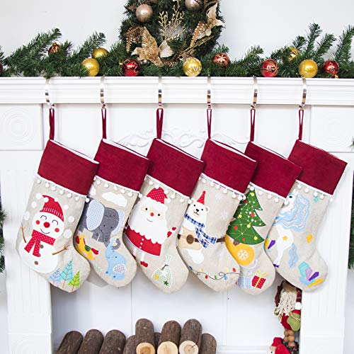 6 Stockings - Beyond Your Thoughts NEW Burlap Christmas Stocking Set of 6 (Extra Large) Embroidered Linen Christmas Ornament Family Decorations (17.5 inch)