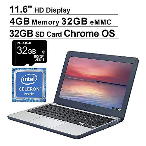 🥇 2020 Newest ASUS Chromebook 11.6 Inch Laptop for Business Student| Intel Celeron N3060 up to 2.48GHz| 4GB LPDDR3 RAM| 32GB eMMC| WiFi| Bluetooth| HDMI| Chrome OS + NexiGo 32GB MicroSD Bundle