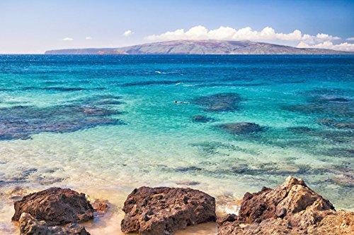 Ocean Reef Snorkel Picture, Tropical Maui Hawaiian Turquoise Water Print, Beach Decor Wall (Maui Fin)