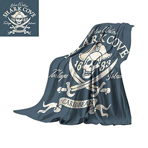 RenteriaDecor Pirate Queen Size,Fleece Blanket Shark Cove Tortuga Island Caribbean Waters Retro Jolly Roger Throw Rug Sofa Bedding W70 x L60 inch