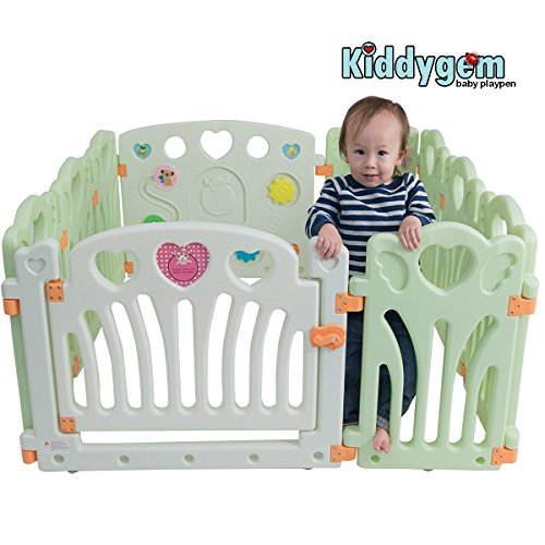 Kiddygem Angel Wings and Hearts Baby 10 Panels Playpen, G...
