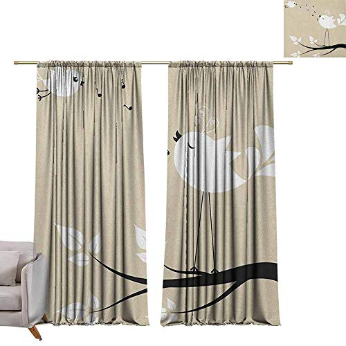 berrly Grommet Blackout Curtains Birds,Two Birds on a Branch Singing Love Songs Friend Valentine Couple Hope Living, Cream Black White W96 x L96 Art Drapery Panels