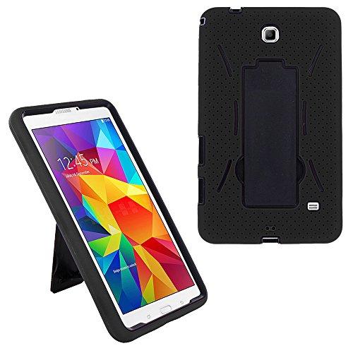 Galaxy Tab 4 7.0 Hybrid Case, KIQ Drop Protection Full Body Hybrid Cover Case Silicone Plastic Kickstand Screen Protector for Samsung Galaxy Tab 4 7-inch SM-T230 (Black-in/Black)