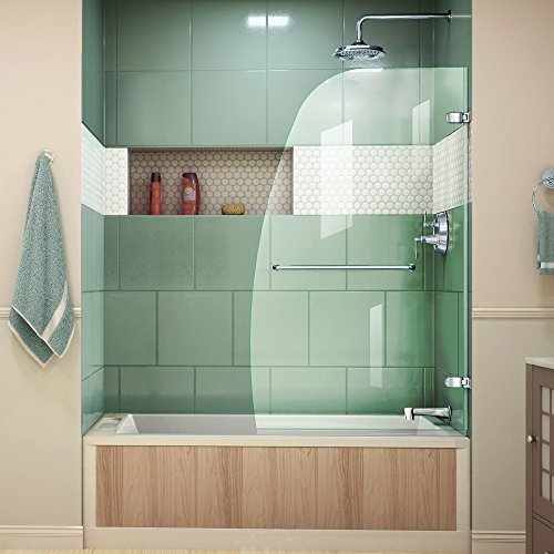 DreamLine Aqua Uno 34 in. Width, Frameless Hinged Tub Door, 1/4'' Glass, Chrome Finish by DreamLine