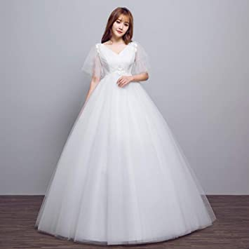 20169c8636a8a YT-RE Pregnant Women Wedding Dress Bride V-Neck High Waist Tulle Pregnancy  Belly
