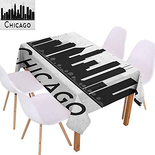 Marilec Washable Table Cloth Chicago Skyline Simplistic Urban Silhouette Tourism Downtown Business City Buildings Party W59 xL71 Black and White -
