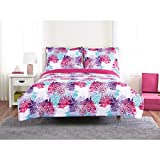 Unkk 2 Piece Girls White Blue Purple Pink Mandala Themed Comforter Twin Set, Vibrant Boho Chic Medallion Motif Bedding, Bright Intricate Bohemian Floral Flower Pattern, Polyester