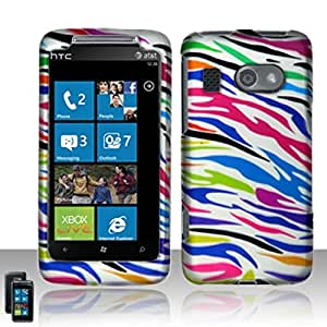 For HTC Surround T8788 Rubberized Hard Design Snap-On Protector Case Cover - Colorful Zebra